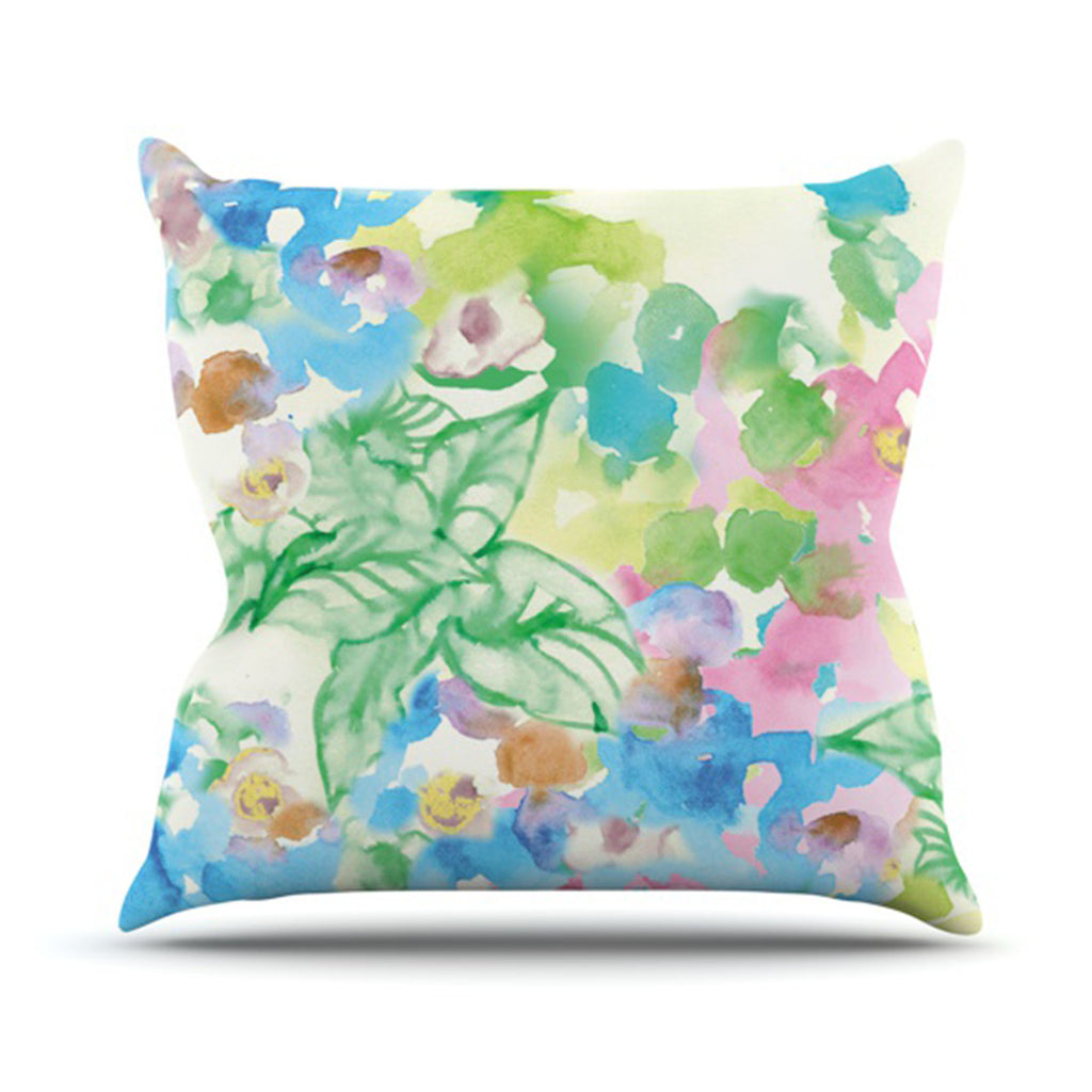 "Sonal Nathwani ""Leaf Bouquet"" Throw Pillow - KESS InHouse  - 1"