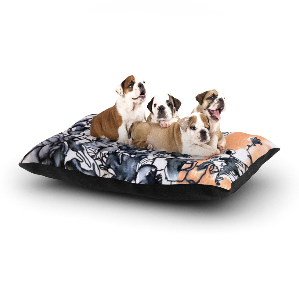 "Sonal Nathwani ""Inky Bouquet"" Dog Bed - KESS InHouse  - 1"