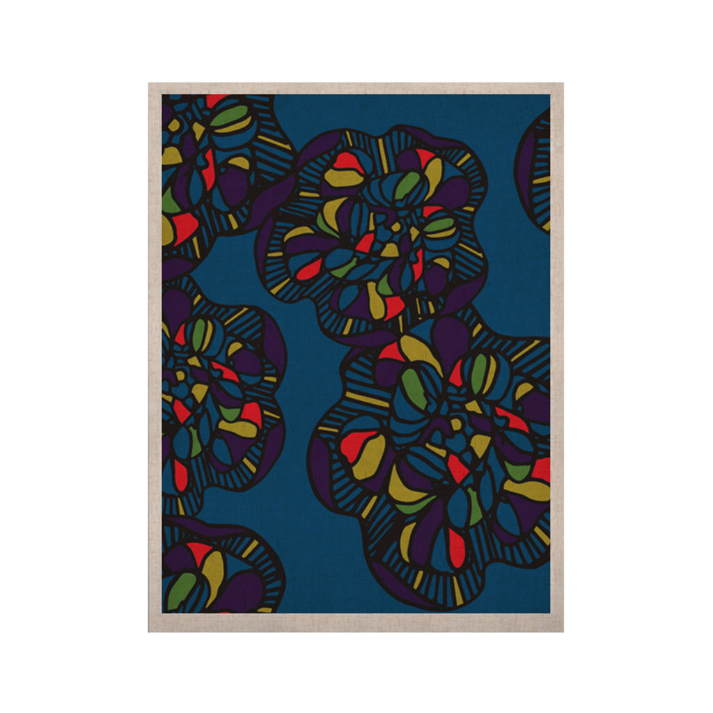 "Sonal Nathwani ""Mushroom Flower"" Navy Pattern KESS Naturals Canvas (Frame not Included) - KESS InHouse  - 1"