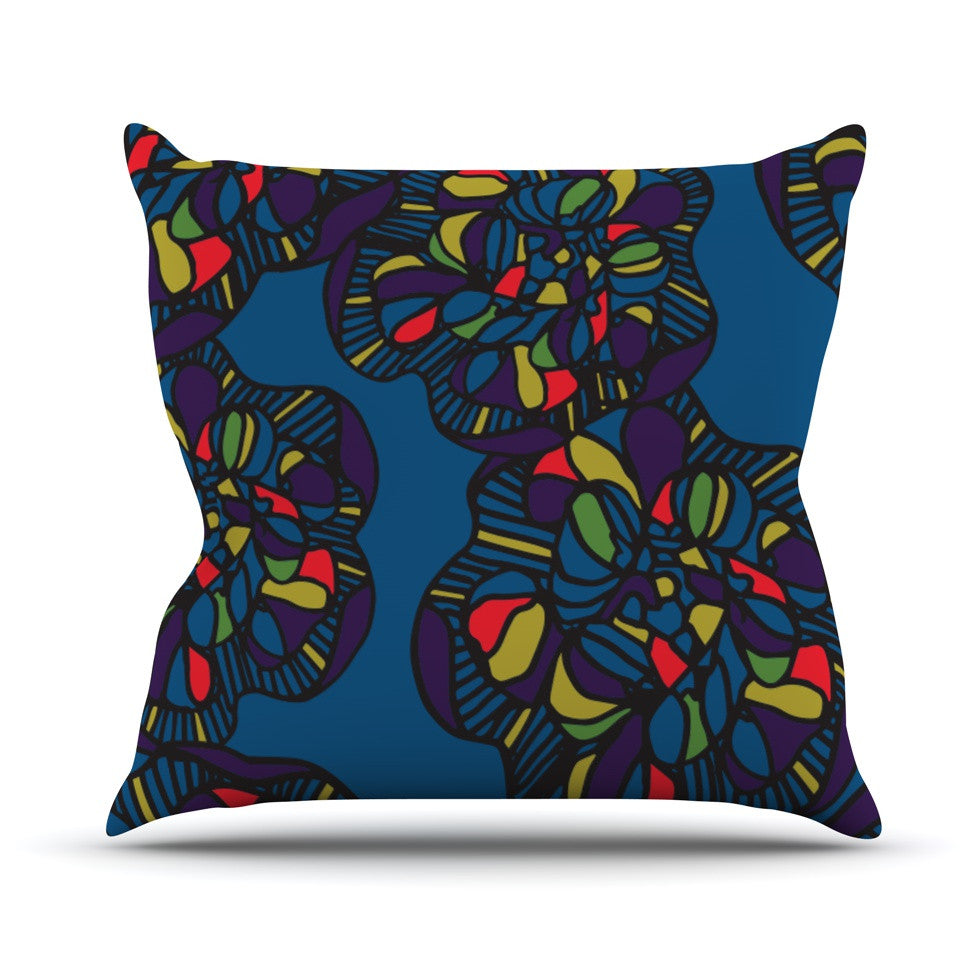"Sonal Nathwani ""Mushroom Flower"" Navy Pattern Throw Pillow - KESS InHouse  - 1"