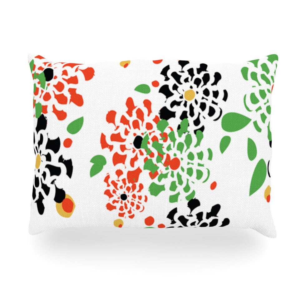 "Sonal Nathwani ""Multi Bouquet"" Orange Green Oblong Pillow - KESS InHouse"