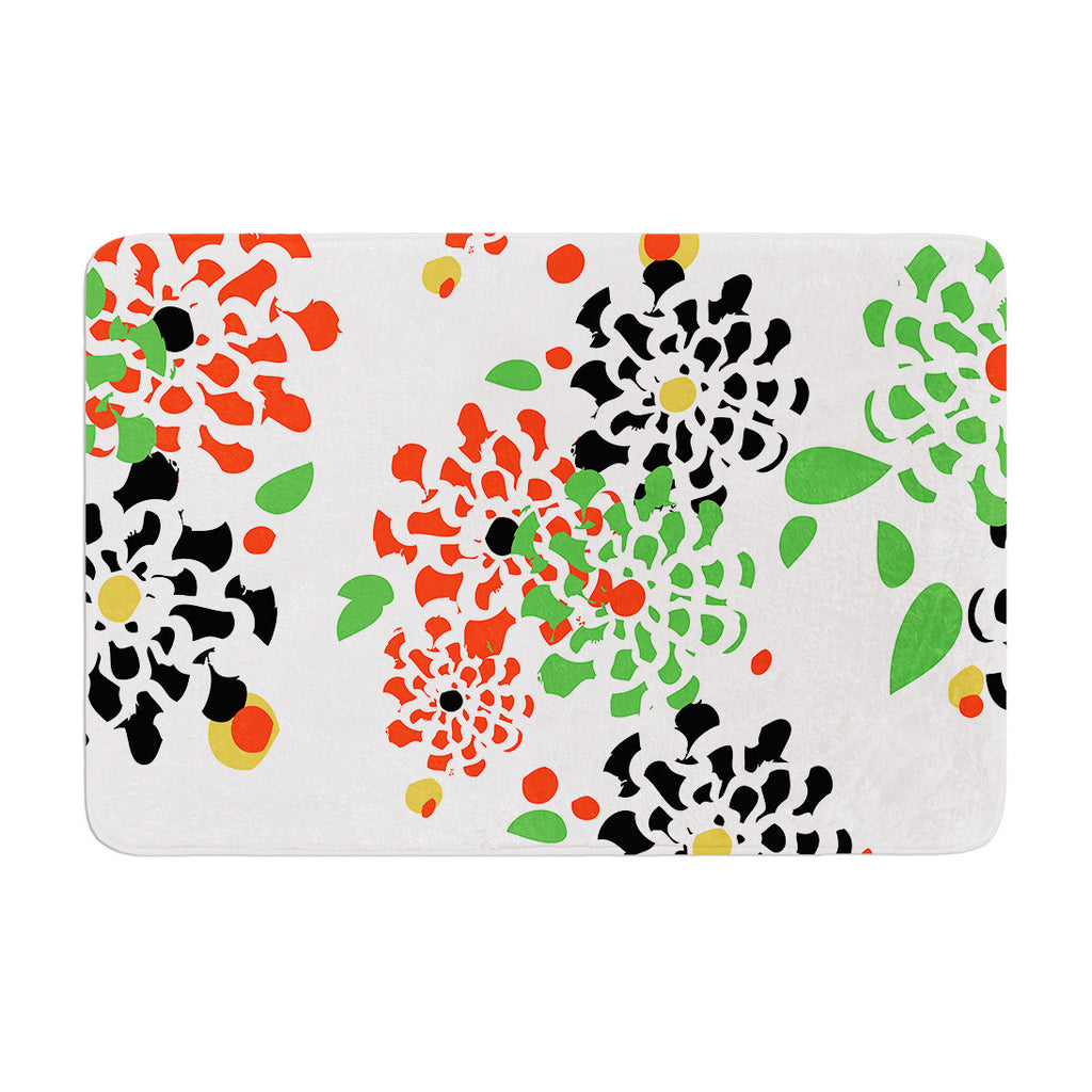 "Sonal Nathwani ""Multi Bouquet"" Orange Green Memory Foam Bath Mat - KESS InHouse"