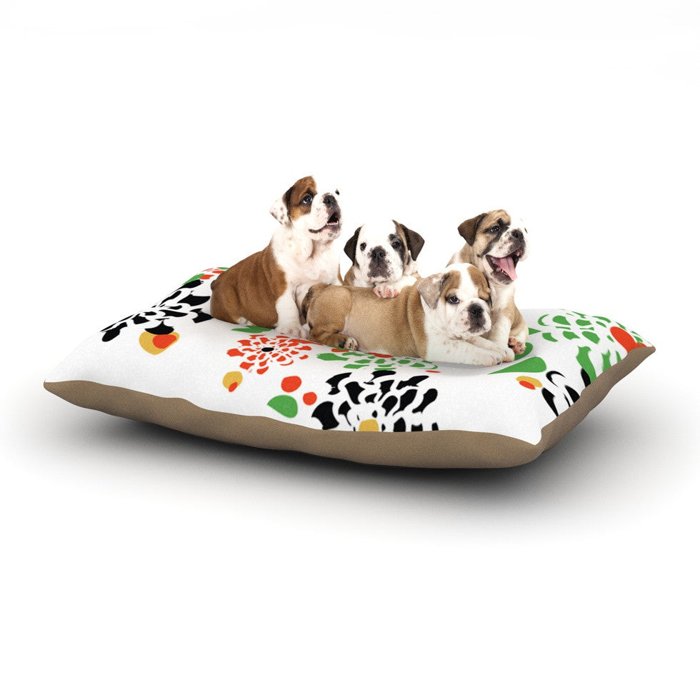 "Sonal Nathwani ""Multi Bouquet"" Orange Green Dog Bed - KESS InHouse  - 1"