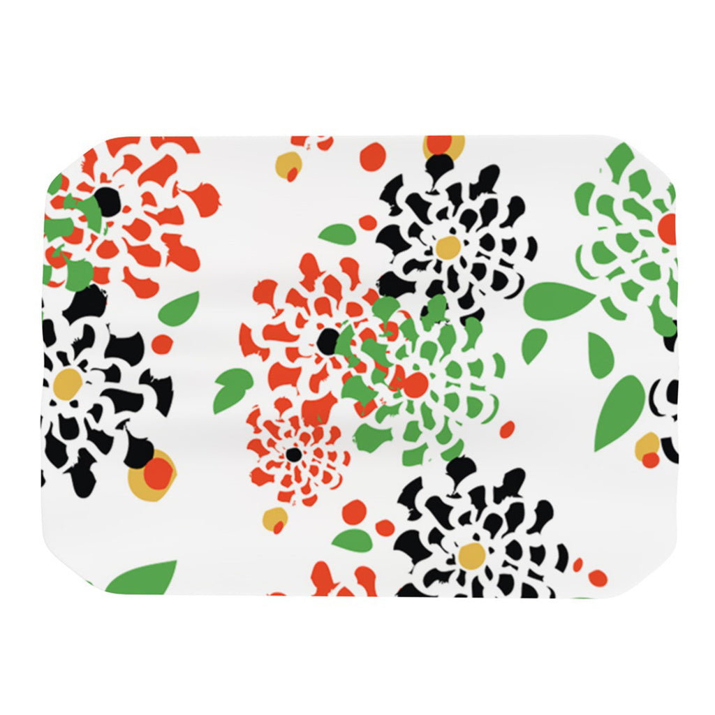 "Sonal Nathwani ""Multi Bouquet"" Orange Green Place Mat - KESS InHouse"