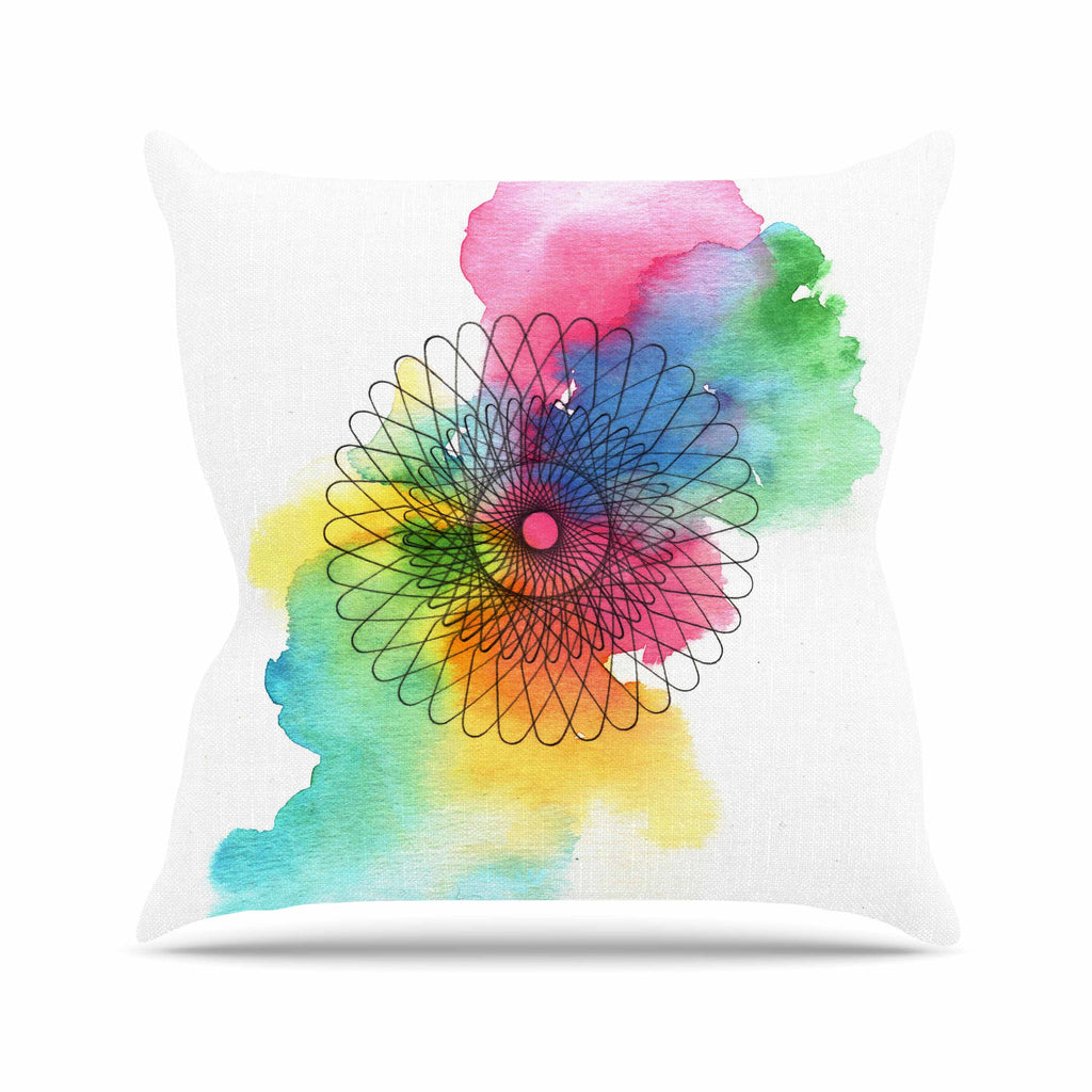 "Sonal Nathwani ""Rainbow Spiro"" Multicolor  Outdoor Throw Pillow - KESS InHouse  - 1"