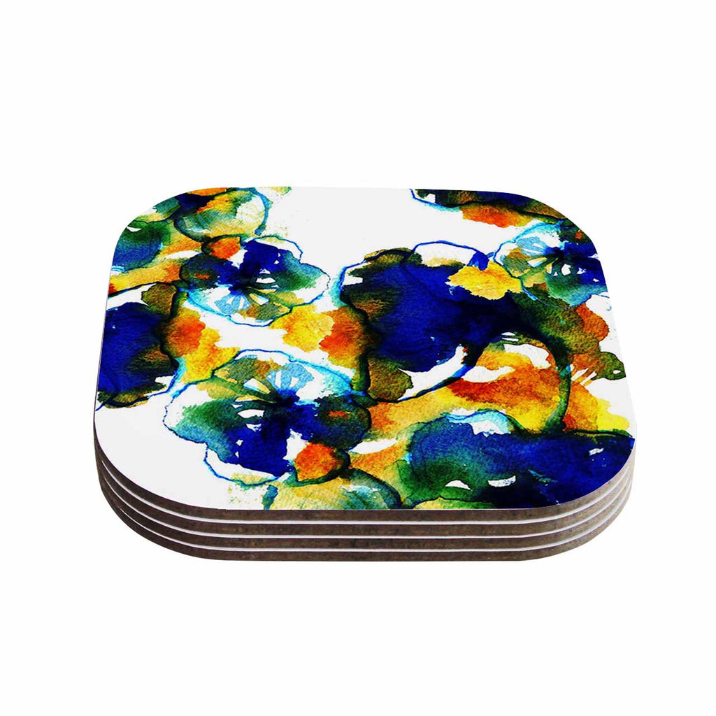 "Sonal Nathwani ""Blue Orange Floral"" Abstract Watercolor Coasters (Set of 4)"