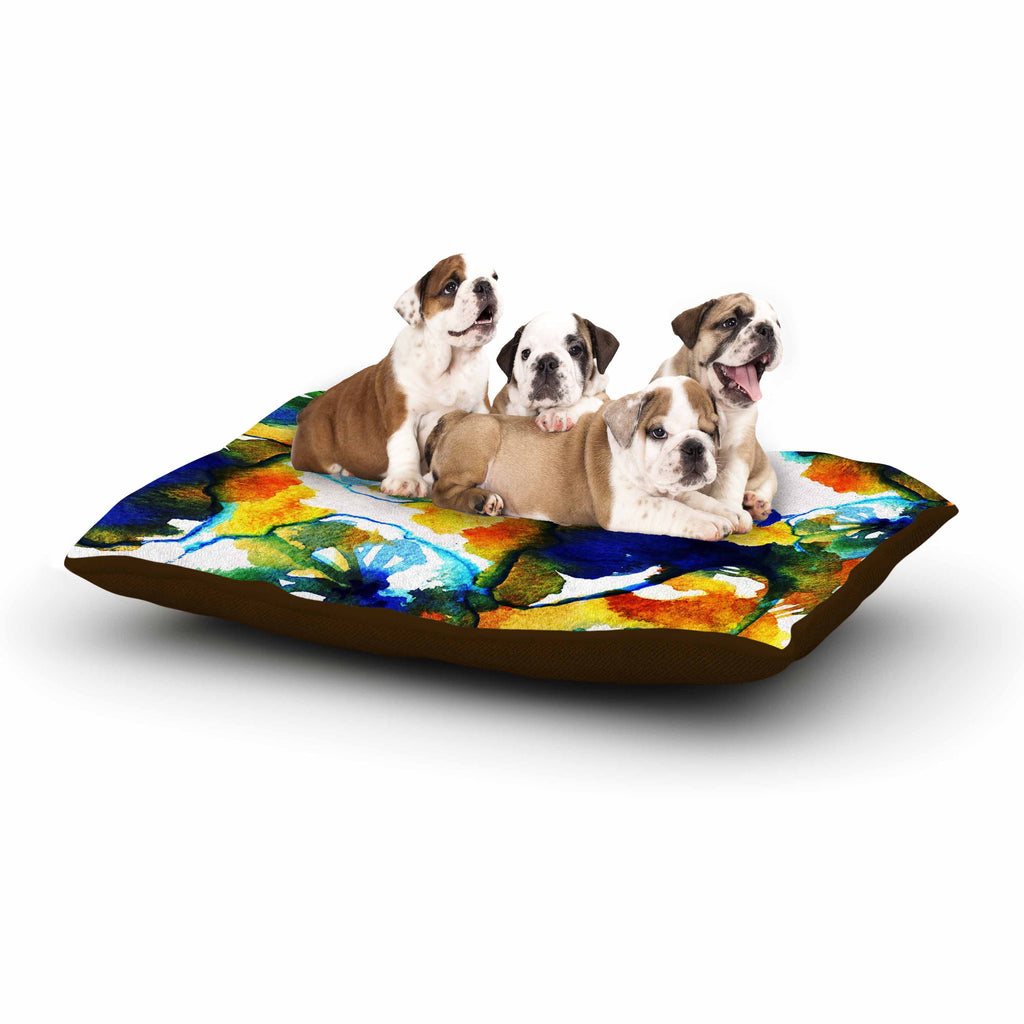 "Sonal Nathwani ""Blue Orange Floral"" Abstract Watercolor Dog Bed - KESS InHouse  - 1"