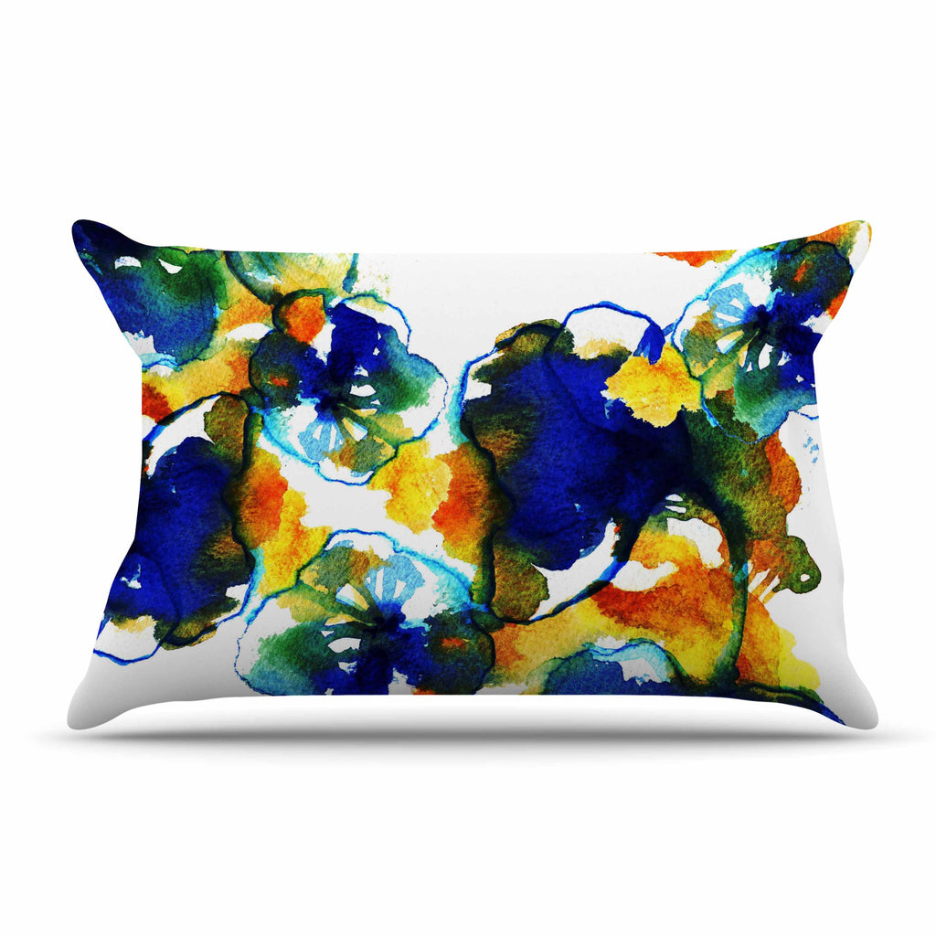 "Sonal Nathwani ""Blue Orange Floral"" Abstract Watercolor Pillow Sham - KESS InHouse"