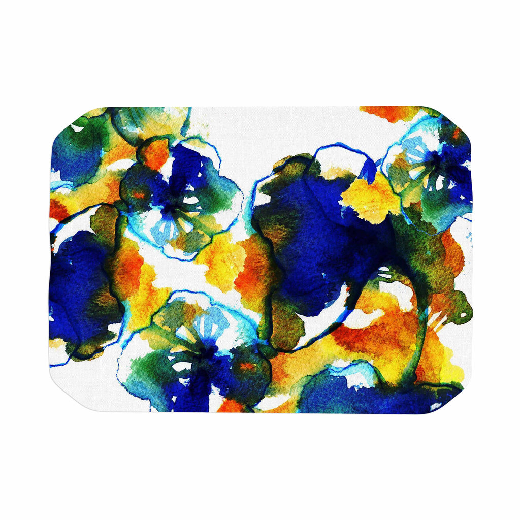 "Sonal Nathwani ""Blue Orange Floral"" Abstract Watercolor Place Mat - KESS InHouse"