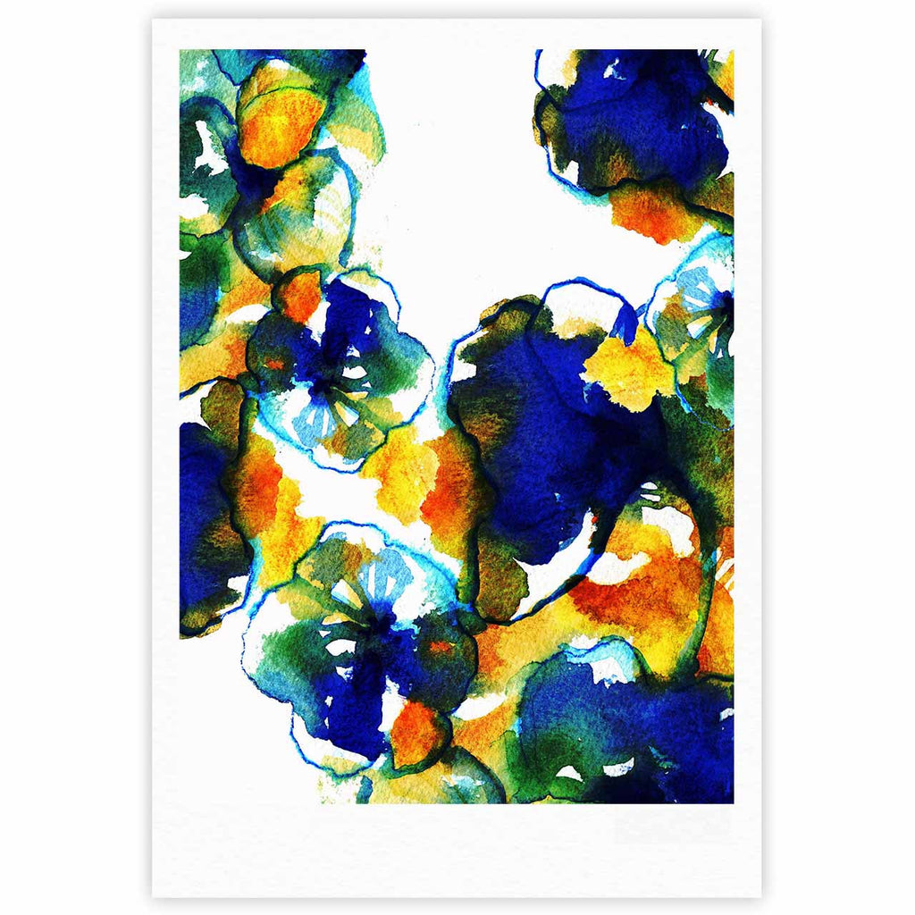 "Sonal Nathwani ""Blue Orange Floral"" Abstract Watercolor Fine Art Gallery Print - KESS InHouse"
