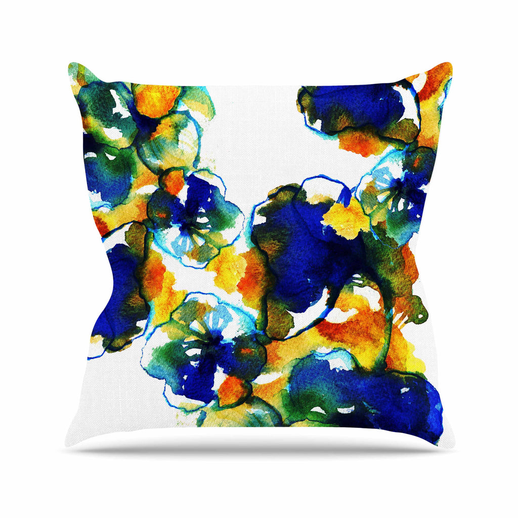 "Sonal Nathwani ""Blue Orange Floral"" Abstract Watercolor Outdoor Throw Pillow - KESS InHouse  - 1"