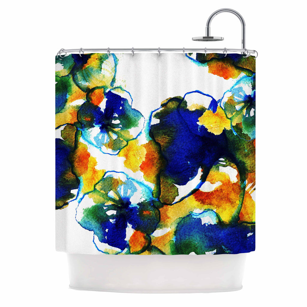 "Sonal Nathwani ""Blue Orange Floral"" Abstract Watercolor Shower Curtain - KESS InHouse"