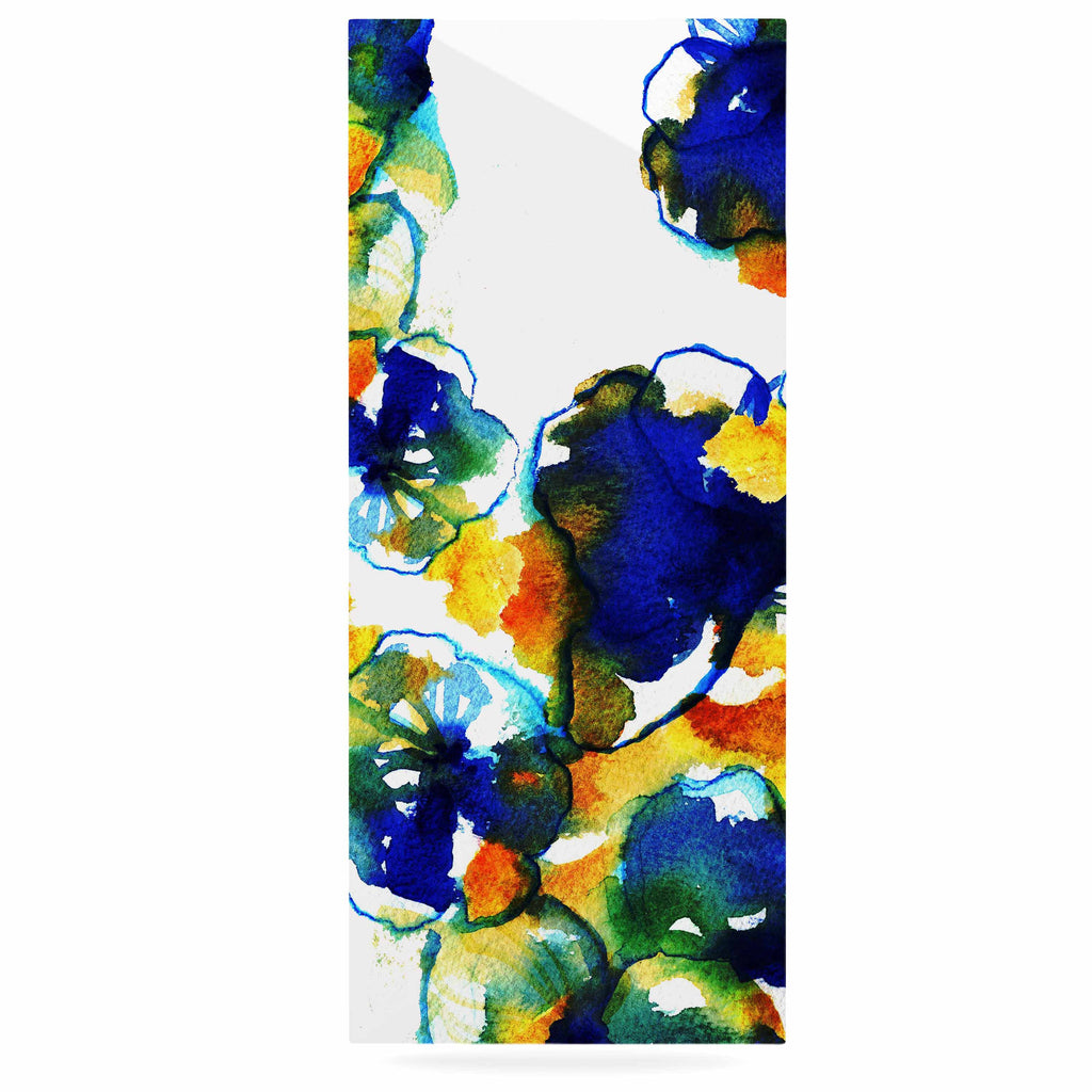 "Sonal Nathwani ""Blue Orange Floral"" Abstract Watercolor Luxe Rectangle Panel - KESS InHouse  - 1"