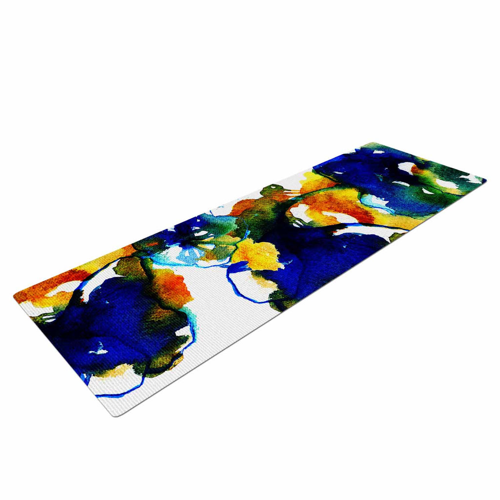 "Sonal Nathwani ""Blue Orange Floral"" Abstract Watercolor Yoga Mat - KESS InHouse  - 1"