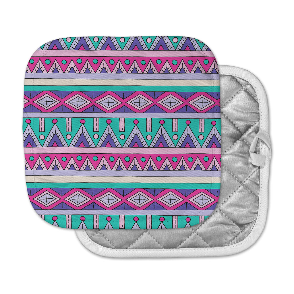 "Sarah Oelerich ""Teal Tribal"" Pink Purple Pot Holder"