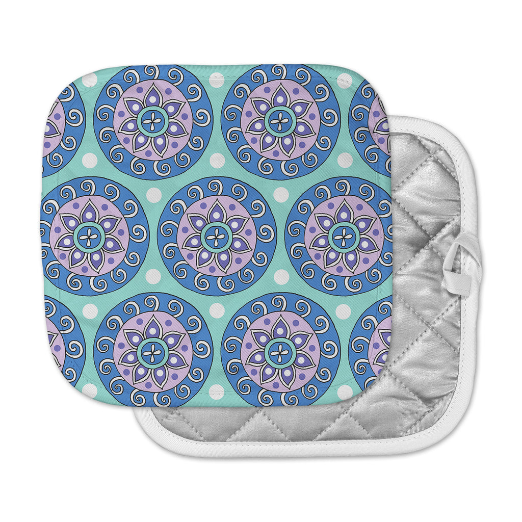 "Sarah Oelerich ""Mandala Dot"" Blue Aqua Pot Holder"