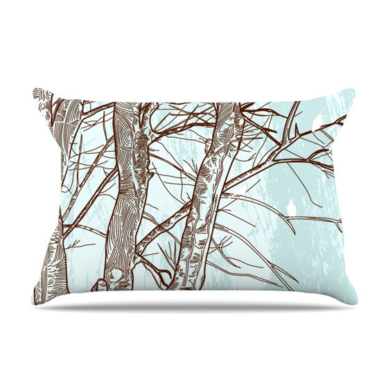 "Sam Posnick ""Winter Trees"" Pillow Case - KESS InHouse"