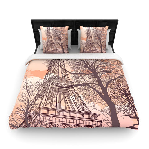 "Sam Posnick ""Eiffel Tower""  Woven Duvet Cover - Outlet Item"
