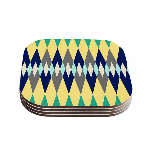 "SusanaPaz ""Sweet Tribal"" Green Blue Digital Coasters (Set of 4)"