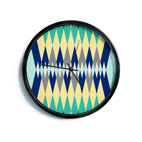 "SusanaPaz ""Sweet Tribal"" Green Blue Digital Modern Wall Clock"