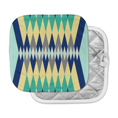 "SusanaPaz ""Sweet Tribal"" Green Blue Digital Pot Holder"