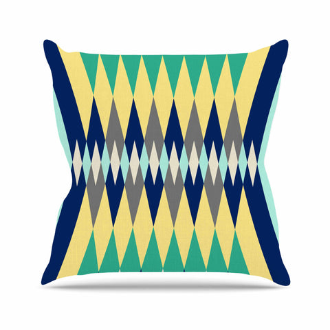 "SusanaPaz ""Sweet Tribal"" Green Blue Digital Outdoor Throw Pillow"