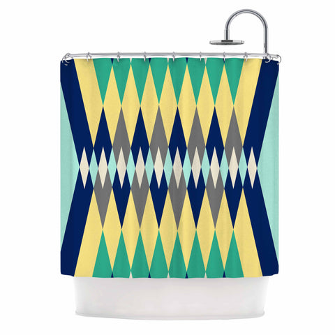 "SusanaPaz ""Sweet Tribal"" Green Blue Digital Shower Curtain"