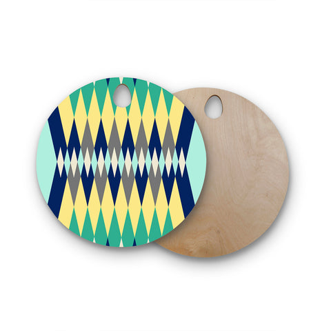 "SusanaPaz ""Sweet Tribal"" Green Blue Digital Round Wooden Cutting Board"