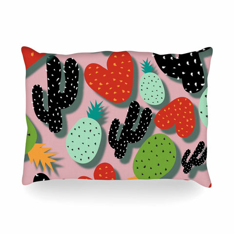 "SusanaPaz ""Cactus And Pineapples"" Pink Black Digital Oblong Pillow"