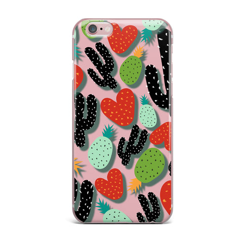 "SusanaPaz ""Cactus And Pineapples"" Pink Black Digital iPhone Case"