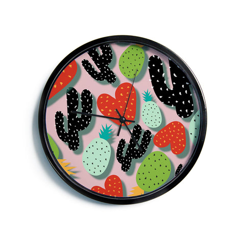 "SusanaPaz ""Cactus And Pineapples"" Pink Black Digital Modern Wall Clock"