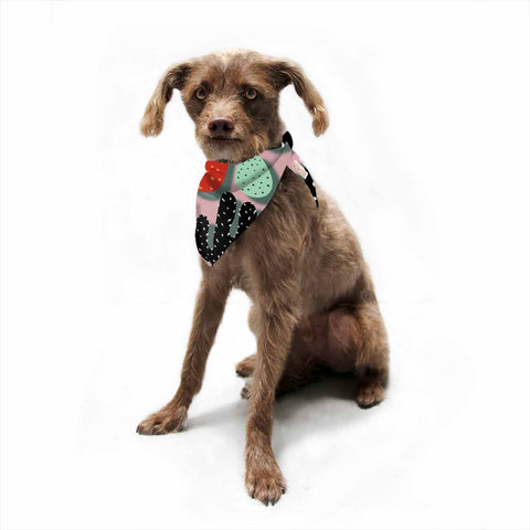 "SusanaPaz ""Cactus And Pineapples"" Pink Black Digital Pet Bandana"