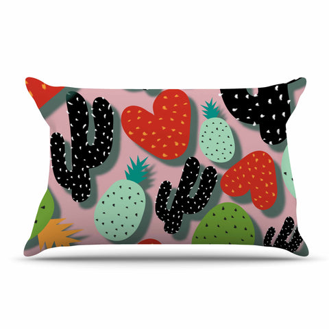 "SusanaPaz ""Cactus And Pineapples"" Pink Black Digital Pillow Sham"