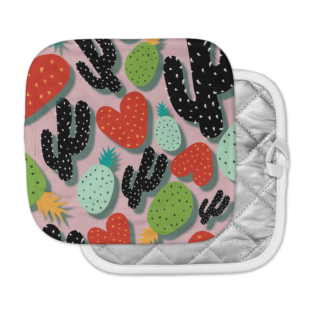 "SusanaPaz ""Cactus And Pineapples"" Pink Black Digital Pot Holder"