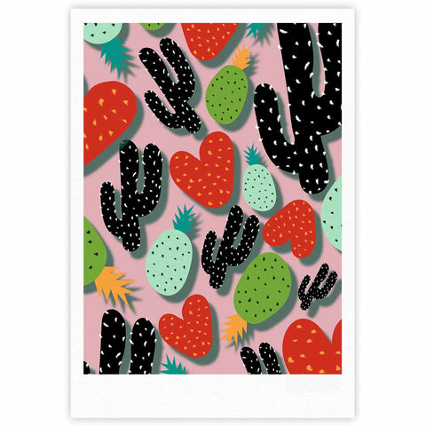 "SusanaPaz ""Cactus And Pineapples"" Pink Black Digital Fine Art Gallery Print"