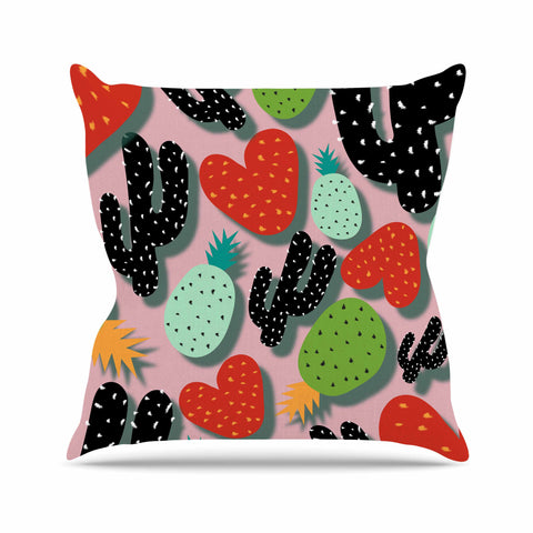 "SusanaPaz ""Cactus And Pineapples"" Pink Black Digital Outdoor Throw Pillow"