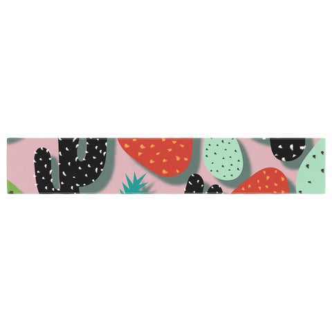 "SusanaPaz ""Cactus And Pineapples"" Pink Black Digital Table Runner"