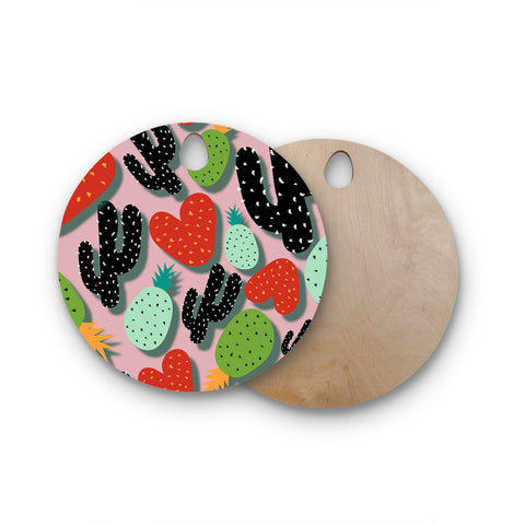 "SusanaPaz ""Cactus And Pineapples"" Pink Black Digital Round Wooden Cutting Board"