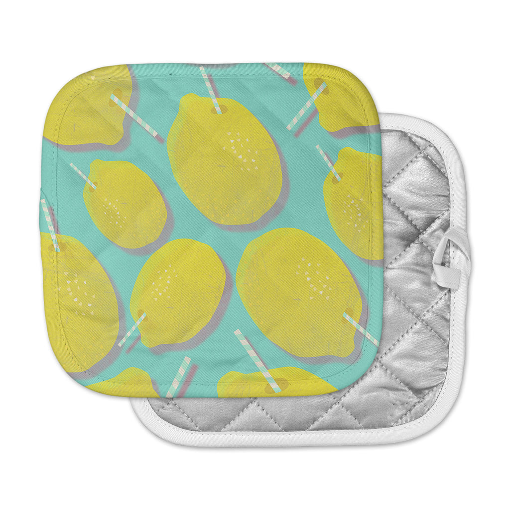 "SusanaPaz ""Fresh Lemonade"" Yellow Blue Digital Pot Holder"