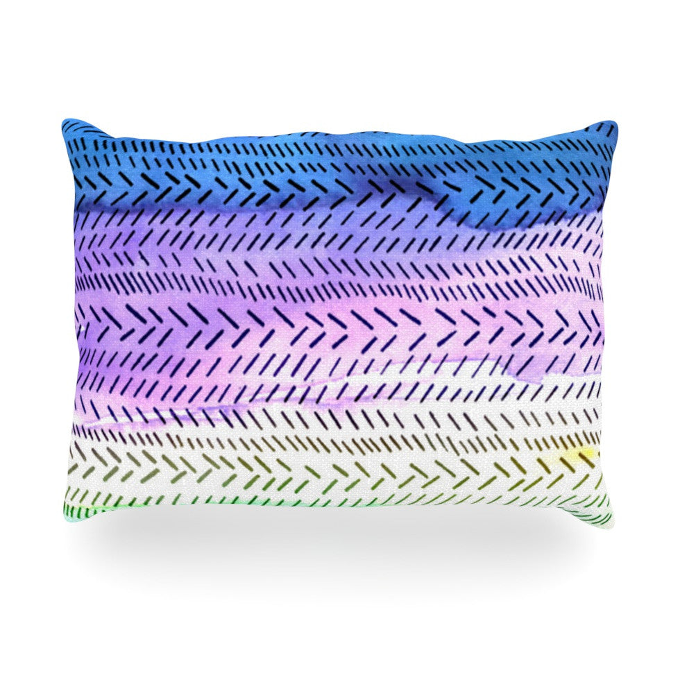 "Sreetama Ray ""Aqua"" Cool Paint Oblong Pillow - KESS InHouse"