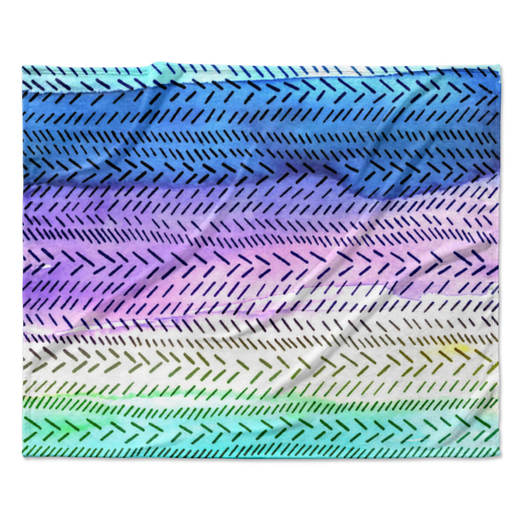 "Sreetama Ray ""Aqua"" Cool Paint Fleece Throw Blanket"
