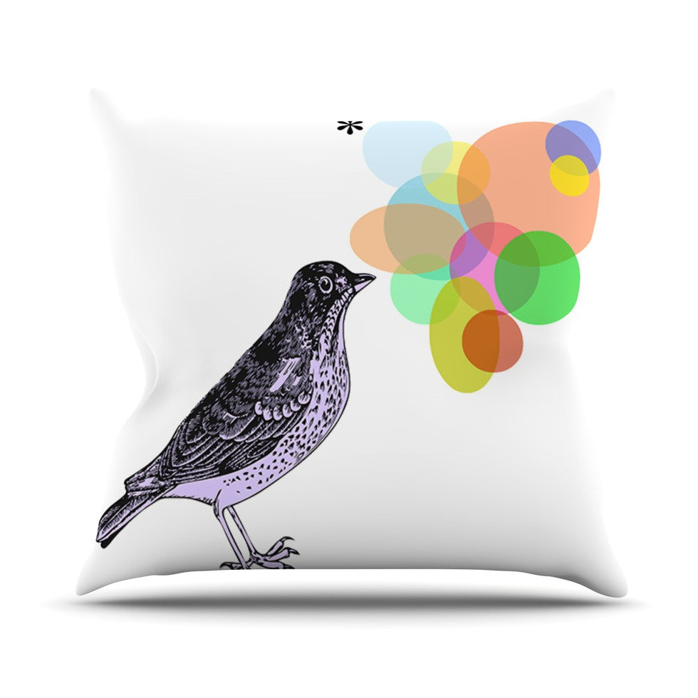 "Sreetama Ray ""Candy Birds"" Geometry Bird Throw Pillow - KESS InHouse  - 1"