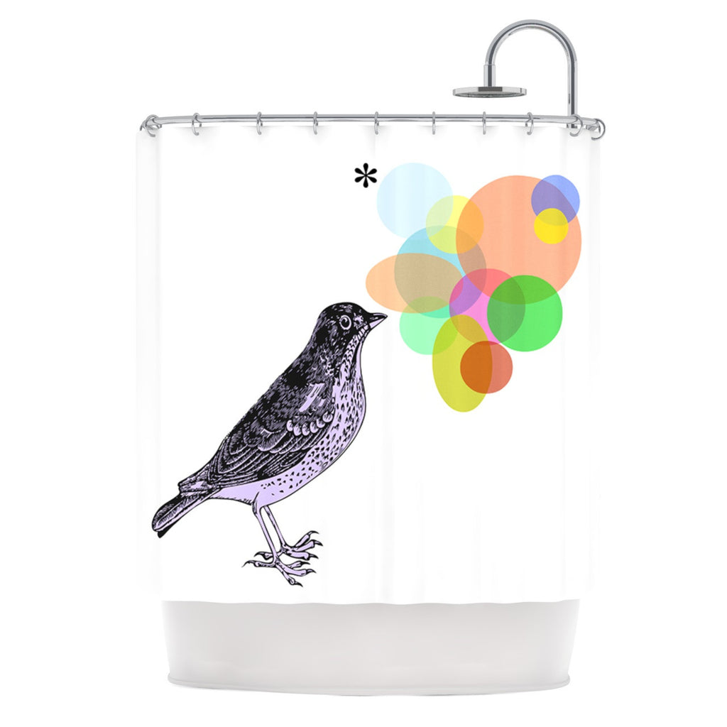 "Sreetama Ray ""Candy Birds"" Geometry Bird Shower Curtain - KESS InHouse"