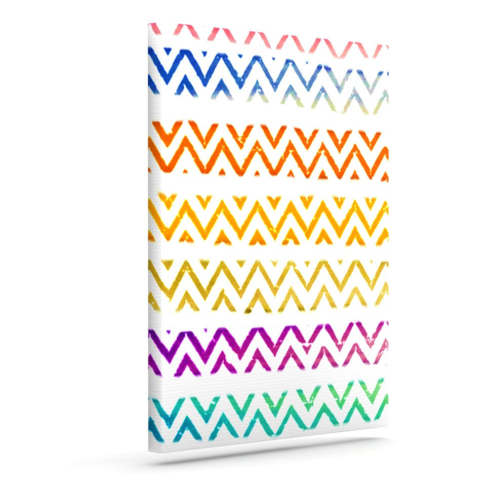 "Sreetama Ray ""Chevron Add"" Warm Chevrons Outdoor Canvas Wall Art - KESS InHouse  - 1"