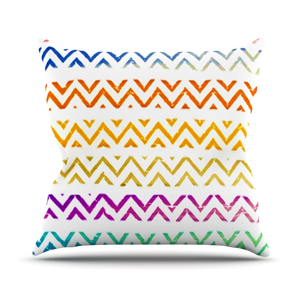 "Sreetama Ray ""Chevron Add"" Warm Chevrons Outdoor Throw Pillow - KESS InHouse  - 1"