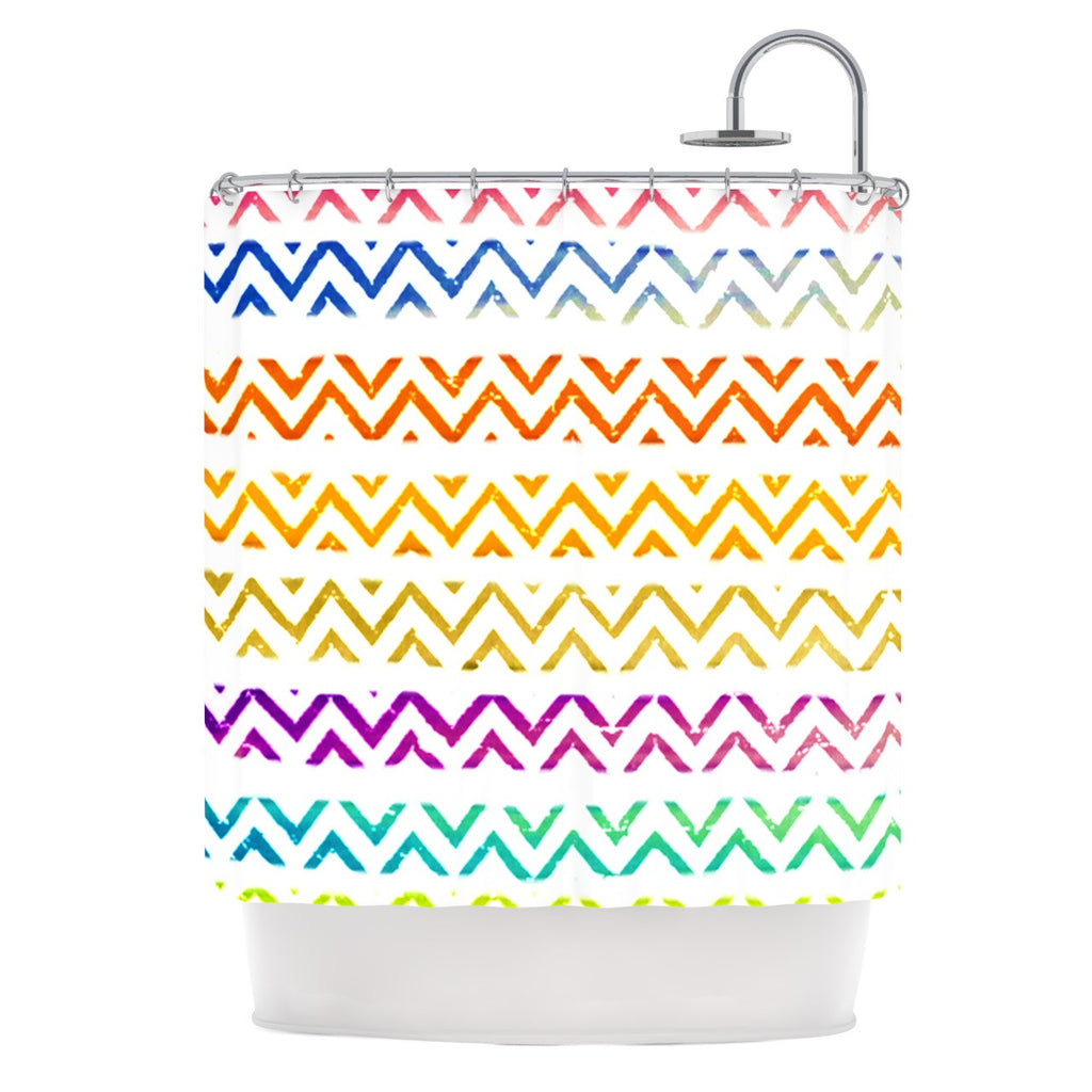 "Sreetama Ray ""Chevron Add"" Warm Chevrons Shower Curtain - KESS InHouse"
