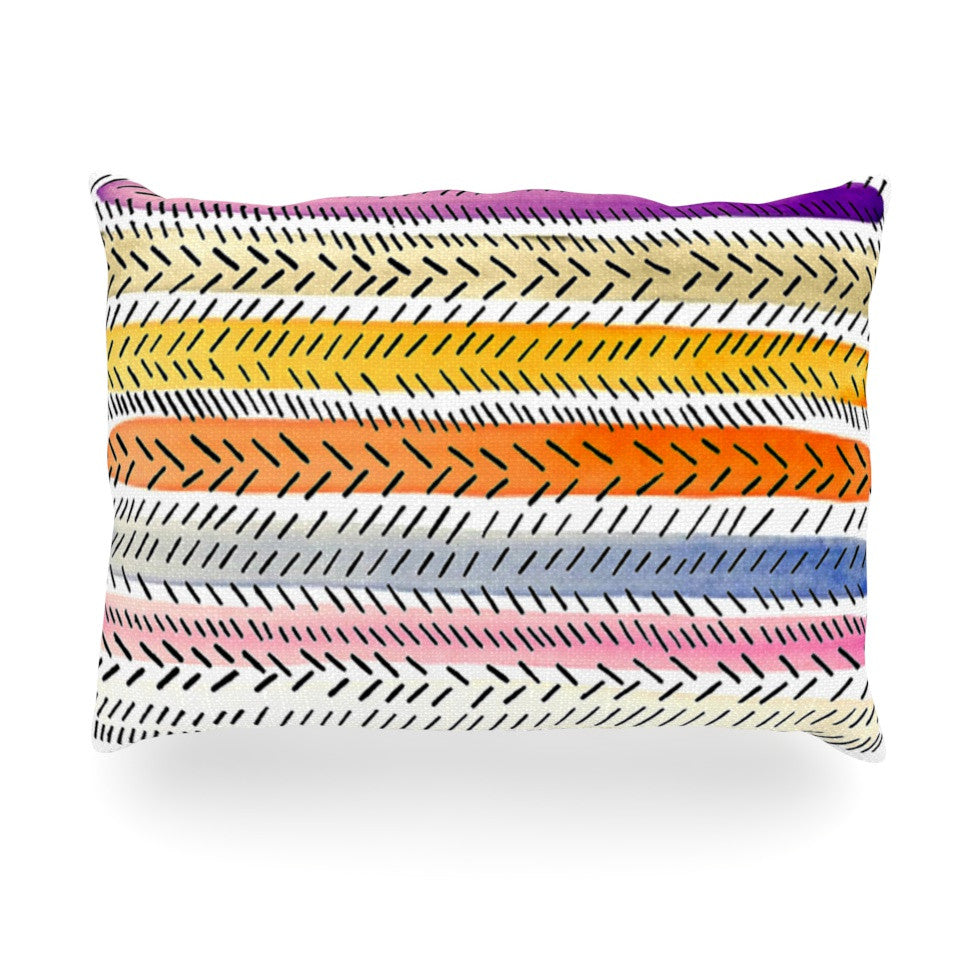 "Sreetama Ray ""Dash 3"" Dashed Paint Oblong Pillow - KESS InHouse"