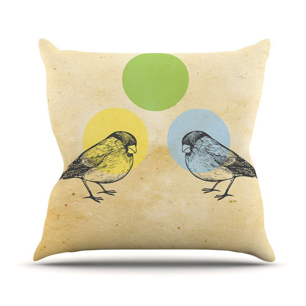 "Sreetama Ray ""Green"" Paper Birds Throw Pillow - KESS InHouse  - 1"