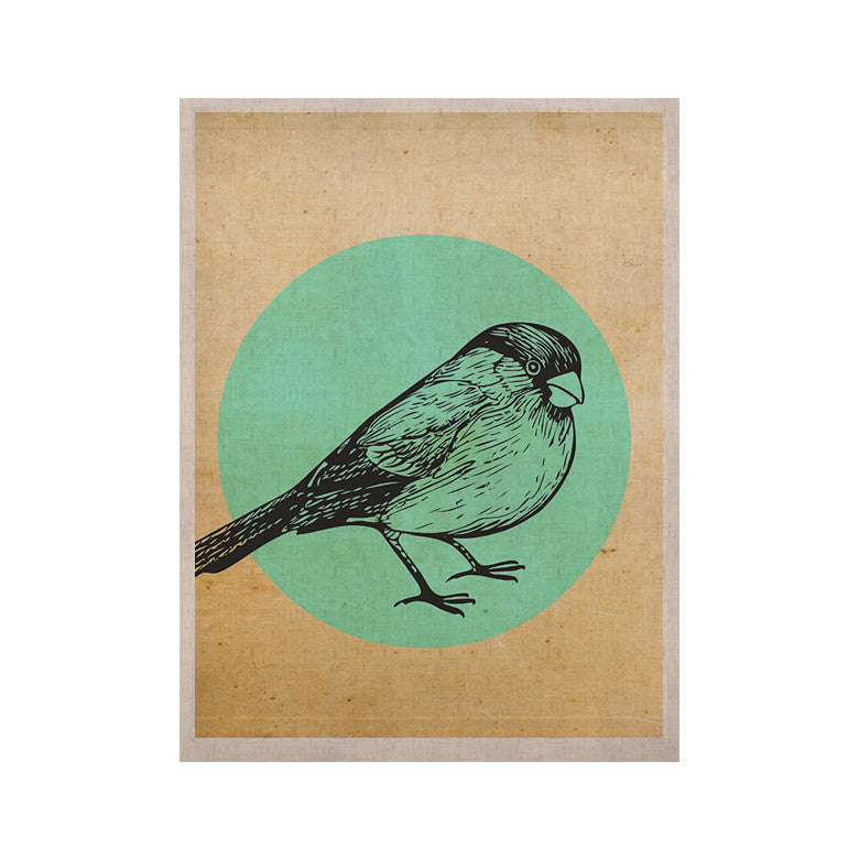 "Sreetama Ray ""Old Paper Bird"" Teal Circle KESS Naturals Canvas (Frame not Included) - KESS InHouse  - 1"