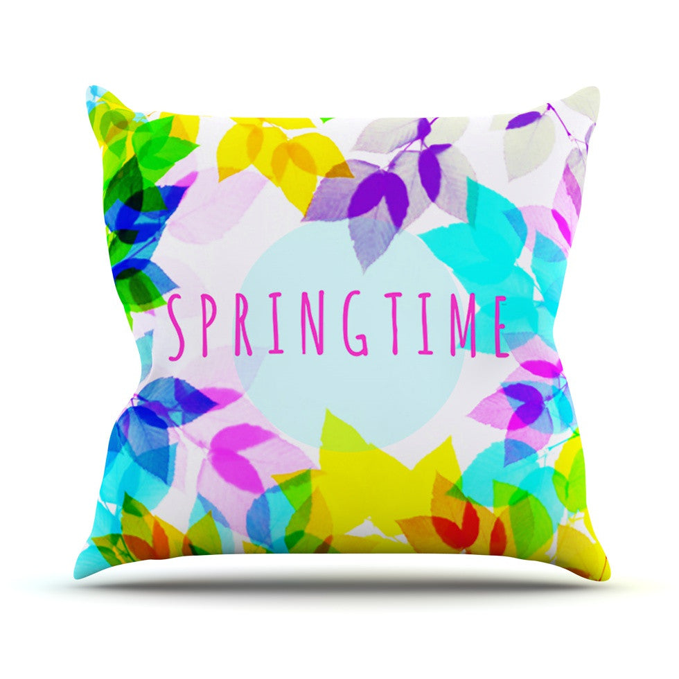 "Sreetama Ray ""Seasons Springtime"" Rainbow Leaves Outdoor Throw Pillow - KESS InHouse  - 1"